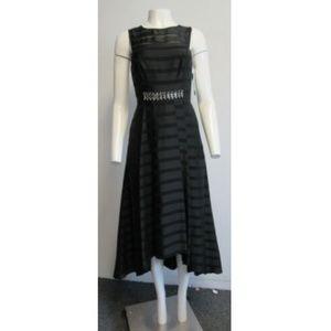 NWT Shoshanna Black Sheer-stripe Hi-lo Dress SZ 6